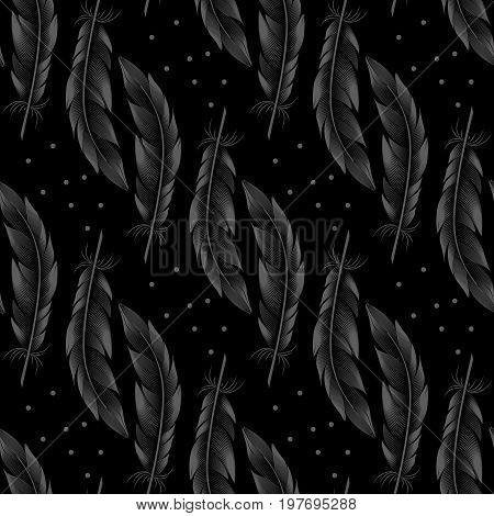 Seamless pattern of gray big feathers with dots on a dark background. Vector contour graphics. Style engraving