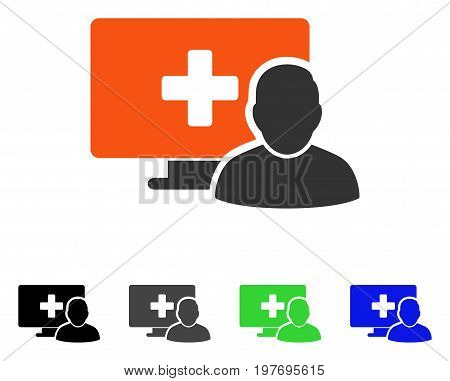 Online Medicine flat vector pictograph. Colored online medicine gray, black, blue, green icon variants. Flat icon style for graphic design.