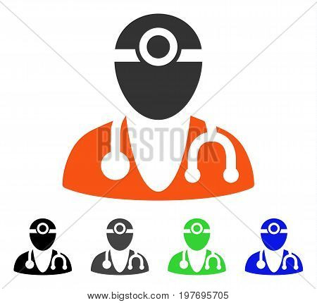 Optometrist Doctor flat vector pictogram. Colored Optometrist doctor gray, black, blue, green pictogram variants. Flat icon style for web design.