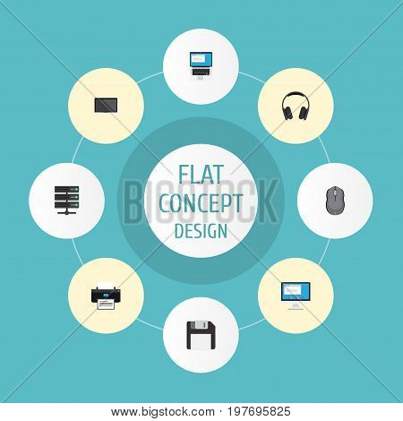 Flat Icons Printer, Display, Diskette And Other Vector Elements