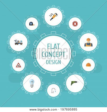 Flat Icons Caution, Pneumatic, Worker And Other Vector Elements