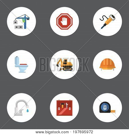 Flat Icons Stop Sign, Pneumatic, Faucet And Other Vector Elements