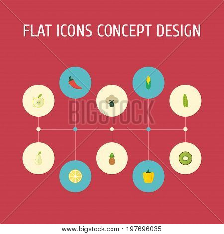 Flat Icons Duchess, Bulgarian Bell, Lime And Other Vector Elements