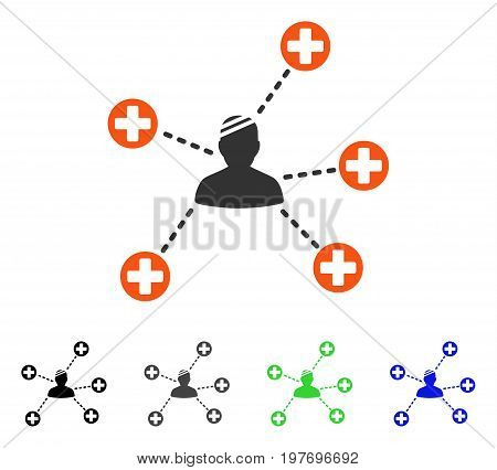 Patient Links flat vector icon. Colored patient links gray, black, blue, green pictogram variants. Flat icon style for graphic design.