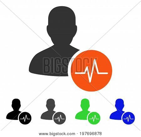 Patient Pulse flat vector illustration. Colored patient pulse gray, black, blue, green icon versions. Flat icon style for graphic design.