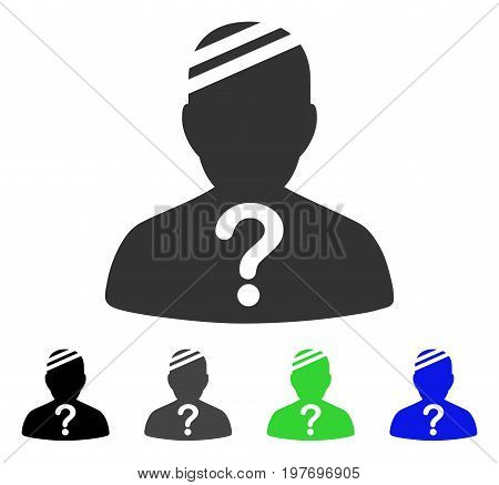 Patient Query flat vector pictogram. Colored patient query gray, black, blue, green pictogram variants. Flat icon style for application design.