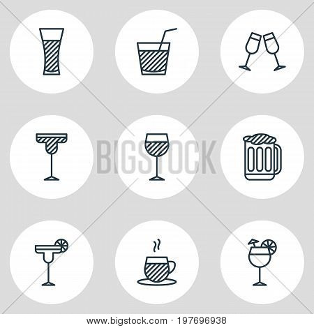 Editable Pack Of Draught, Cocktail, Beverage And Other Elements.  Vector Illustration Of 9 Beverage Icons.