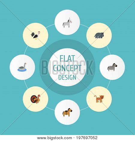 Flat Icons Rooster, Panther, Jackass And Other Vector Elements