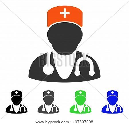 Physician flat vector icon. Colored physician gray, black, blue, green pictogram versions. Flat icon style for graphic design.