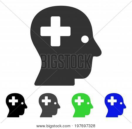 Plus Head flat vector pictograph. Colored plus head gray, black, blue, green icon versions. Flat icon style for web design.