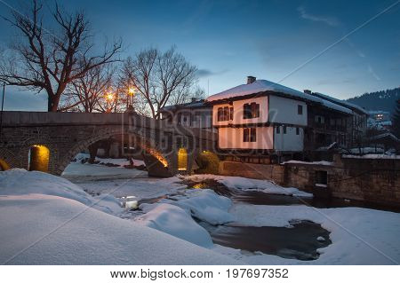 Bridge in the architectural complex in Tryavna Bulgaria. National revival bulgarian architecture. Winter