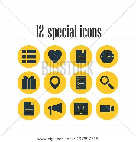 Editable Pack Of Map Pointer, Love, Bookmark And Other Elements.  Vector Illustration Of 12 Internet Icons.