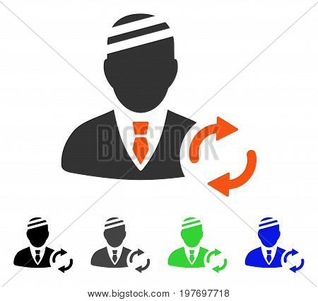 Refresh Gentleman Patient flat vector icon. Colored refresh gentleman patient gray, black, blue, green pictogram variants. Flat icon style for application design.