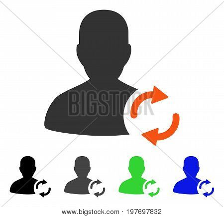 Refresh User flat vector pictogram. Colored refresh user gray, black, blue, green icon versions. Flat icon style for graphic design.
