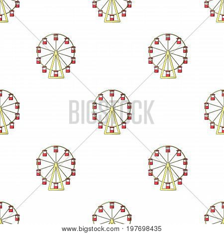 The wheel is in the amusement park. Slow attraction to explore the city.Amusement park single icon in cartoon style vector symbol stock web illustration.