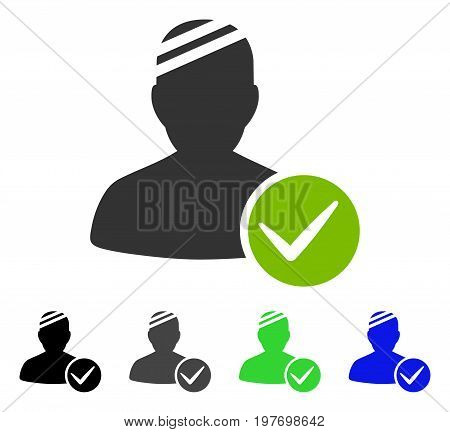Valid Patient flat vector illustration. Colored valid patient gray, black, blue, green icon versions. Flat icon style for application design.