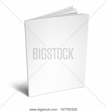 Opened book or magazine with empty blank pages and cover. White object mockup or template isolated on white background
