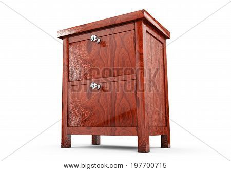 Wood bedside table. Modern designer nightstand isolated on white background. Series of furniture 3d render
