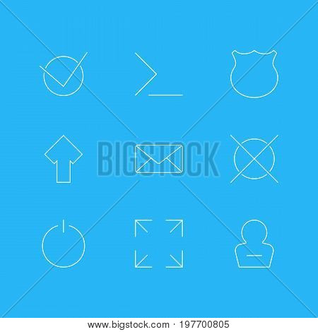 Editable Pack Of Upward, Guard, Wide Monitor And Other Elements.  Vector Illustration Of 9 User Icons.