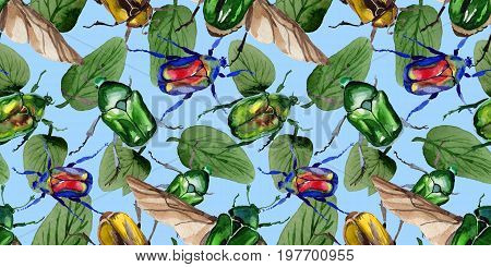 Exotic beetle bronzovka wild insect pattern in a watercolor style. Full name of the insect: beetle bronzovka. Aquarelle wild insect for background, texture, wrapper pattern or tattoo.