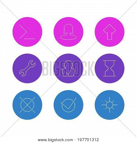 Editable Pack Of Female User, Approved Profile, Upward And Other Elements.  Vector Illustration Of 9 UI Icons.