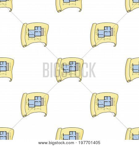 Technical drawing of house icon in cartoon design isolated on white background. Architect symbol stock vector illustration.