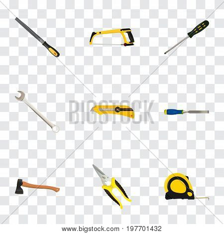 Realistic Carpenter, Sharpener, Chisel And Other Vector Elements