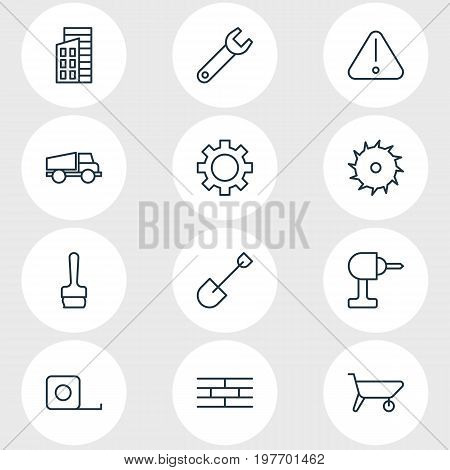 Editable Pack Of Spade, Lorry, Apartment And Other Elements.  Vector Illustration Of 12 Construction Icons.