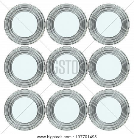 Group of metal tin cans. 3d illustration. Mockup template ready for your design. Top view