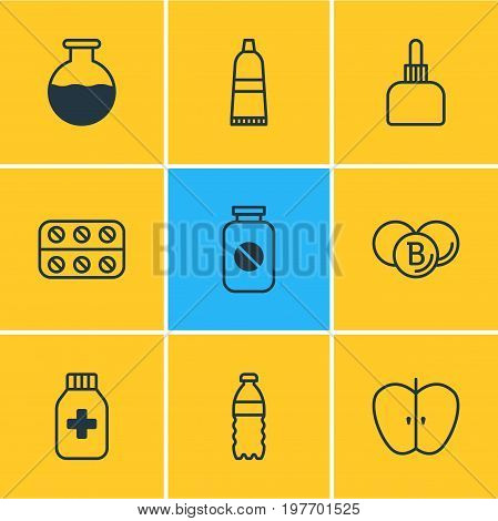 Editable Pack Of Vial, Fresh Fruit, Painkiller And Other Elements.  Vector Illustration Of 9 Medicine Icons.