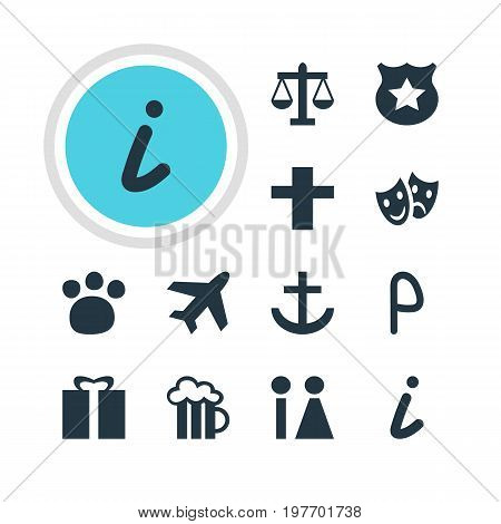 Editable Pack Of Present, Cross, Masks And Other Elements.  Vector Illustration Of 12 Travel Icons.
