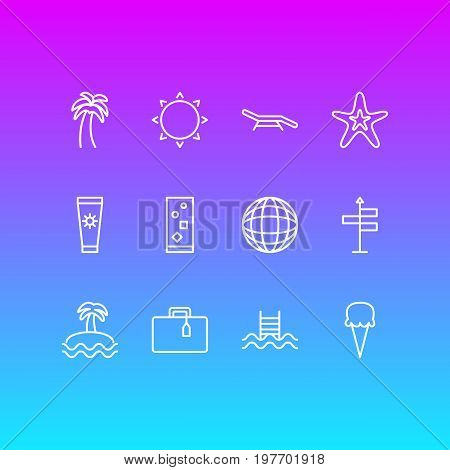 Editable Pack Of Sunny, Palm, Longue And Other Elements.  Vector Illustration Of 12 Summer Icons.