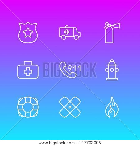 Editable Pack Of First-Aid, Safety, Lifesaver And Other Elements.  Vector Illustration Of 9 Necessity Icons.