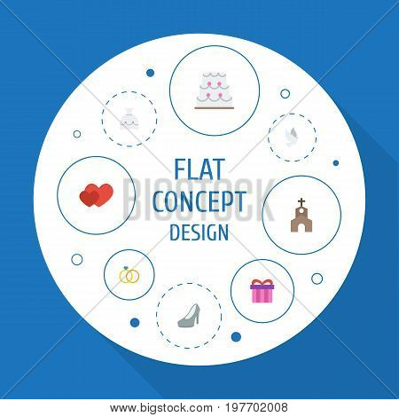 Flat Icons Present, Building, Pigeon And Other Vector Elements