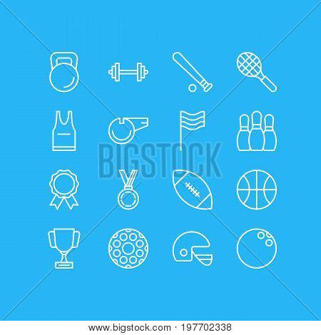Editable Pack Of Blower, Goblet, Rocket And Other Elements.  Vector Illustration Of 16 Athletic Icons.