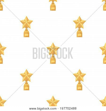 Gold prize in the shape of a star on a stand.The statue in the first place.Awards and trophies single icon in cartoon style vector symbol stock web illustration.