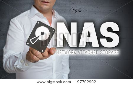 NAS touchscreen is operated by man concept
