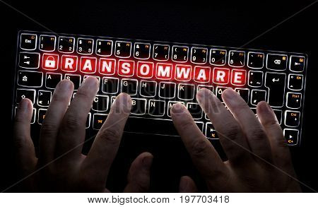 Ransomware keyboard is operated by Hacker concept