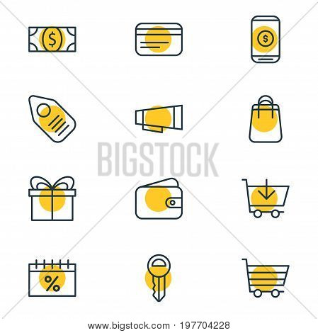Editable Pack Of Pocketbook, Coins, Mobile And Other Elements.  Vector Illustration Of 12 Trading Icons.