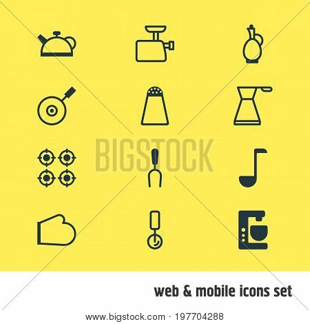 Editable Pack Of Teakettle, Carafe, Skillet And Other Elements.  Vector Illustration Of 12 Cooking Icons.