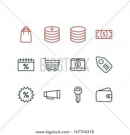 Editable Pack Of Pocketbook, Box, Coins And Other Elements.  Vector Illustration Of 12 Trading Icons.