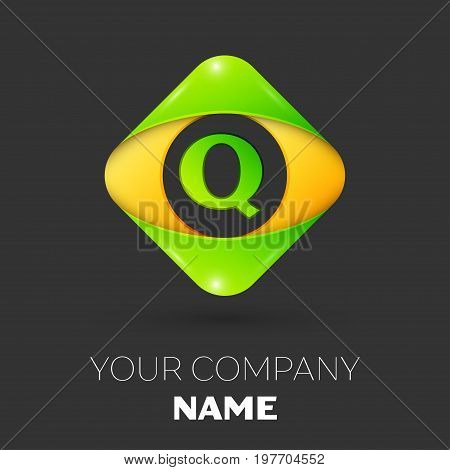 Realistic Letter Q vector logo symbol in the colorful rhombus on black background. Vector template for your design