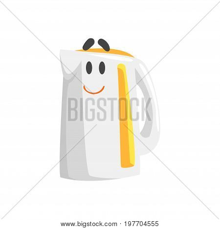 Funny electric kettle character with smiling face, humanized home electrical equipment vector Illustration on a white background