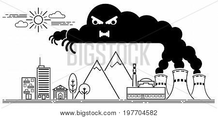 Art line Vector illustration of the dangers of nuclear power plants for people