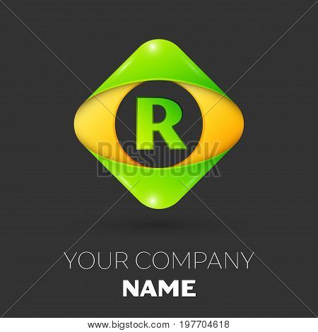 Realistic Letter R vector logo symbol in the colorful rhombus on black background. Vector template for your design