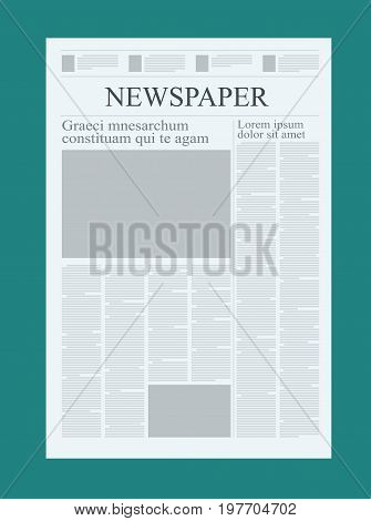 Graphical design newspaper template, highlighting figures and testimonials vector mock up of a blank daily newspaper graphical design newspaper template.