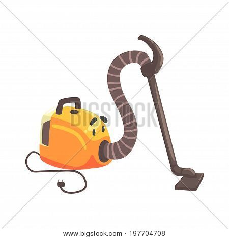 Funny vacuum cleaner character with smiling face, humanized home electrical equipment vector Illustration on a white background