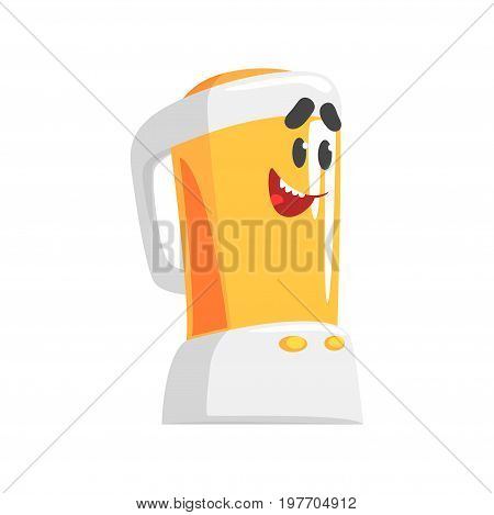 Funny kitchen blender character with smiling face, humanized home electrical equipment vector Illustration on a white background