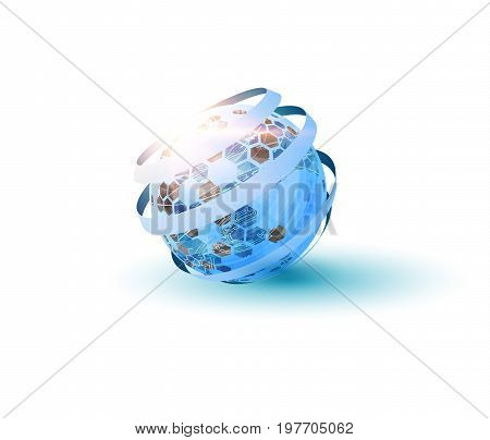 3d techonology globe with hexagons on its surface background. Vector EPS10