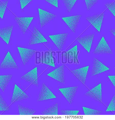 Vector Abstract Stippled Seamless Pattern. 80s and 90s Years Retro Style. Crazy Colors. Handmade Tileable Geometric Structure. Dotted Grunge Background